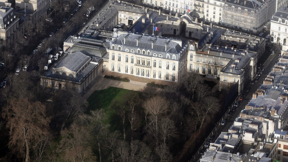 Une vue aérienne de l'Elysée, le 14 janvier 2015
