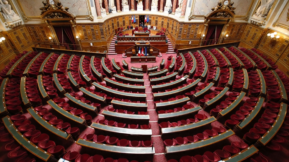 L'hémicycle du Sénat, le 7 avril 2015 à Paris