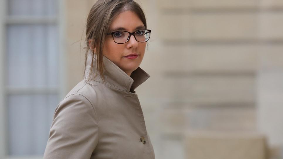 L'une des porte-parole des députés La République en marche, Aurore Bergé, arrive à l'Élysée pour participer à une cérémonie pour la journée internationale de l'élimination des violences faites aux femmes, le 25 novembre 2017