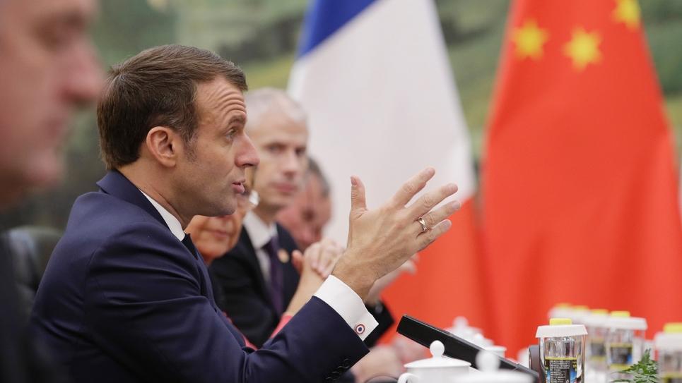 Le président Emmanuel Macron s'exprime le 6 novembre 2019 à Pékin