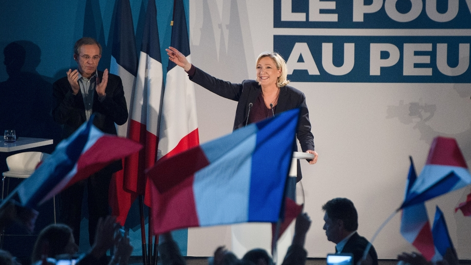 La présidente du Rassemblement national (RN), Marine Le Pen, en meeting au Thors (Vaucluse)le 19 janvier 2019, pour les élections européennes.