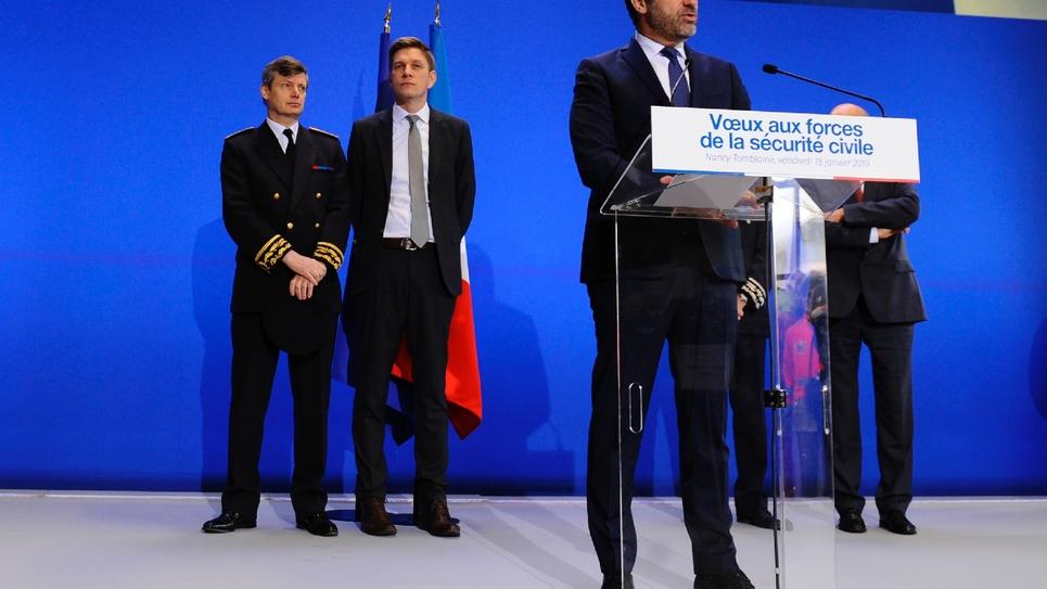 Le ministre de l'Intérieur, Christophe Castaner, présente ses voeux aux forces de sécurité civile, à Tomblaine en Meurthe-et-Moselle, le 18 janvier 2019