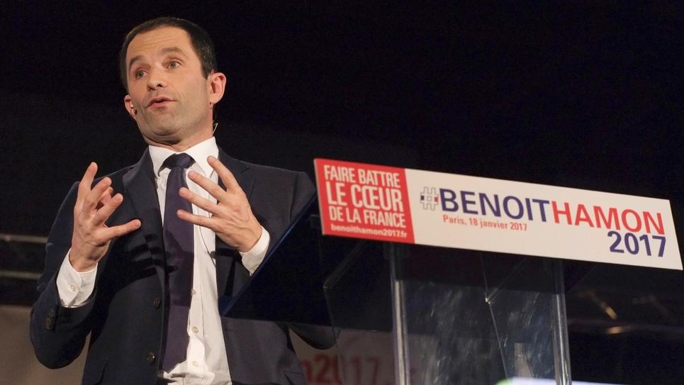 Benoît Hamon lors de son meeting à Paris le 18 janvier 2017