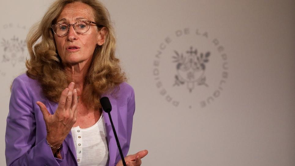 La Garde des Sceaux Nicole Belloubet donne une conférence de presse à l'Elysée, à l'issue du Conseil des ministres, le 28 août 2019