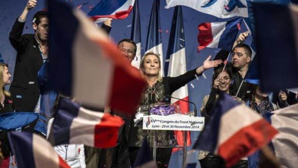 Marine Le Pen lors du congrès du FN le 30 novembre 20104 à Lyon