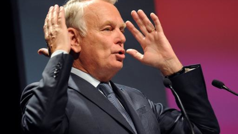 Jean-Marc Ayrault, ancien Premier ministre, dont la proposition de rattacher les Pays de la Loire avec la Bretagne n'a pas été retenue par le gouvernement, le 12 mai 2014 à Rezé, près de Nantes