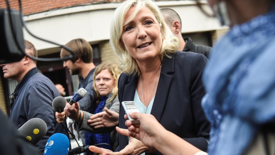 La président du Rassemblement national Marine Le Pen fait sa rentrée politique à Hénin-Beaumont (Pas-de-Calais), le 8 septembre 2019