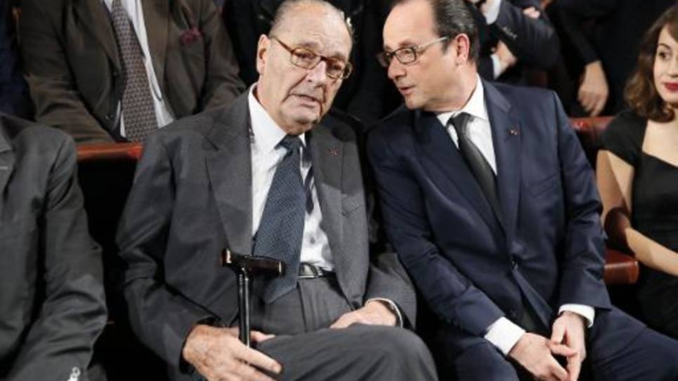 L'ancien président Jacques Chirac au côté de François Hollande le 21 novembre 2014 au musée du Quai Branly à Paris