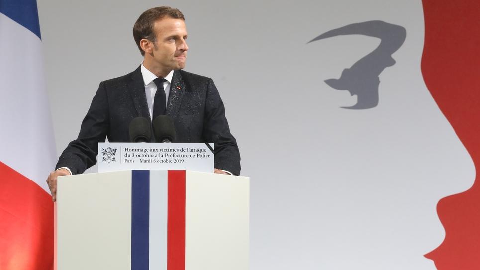 Emmanuel Macron à la préfecture de police de Paris le 8 octobre 2019