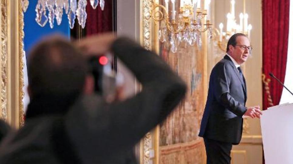 Le président François Hollande à l'Elysée le 20 janvier 2015