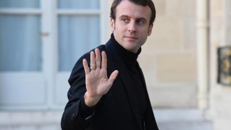 Le ministre de l'Economie Emmanuel Macron arrive au palais de l'Elysée le 11 janvier 2015