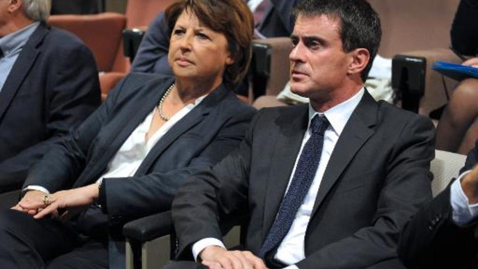 La maire de Lille Martine Aubry et le Premier ministre Manuel Valls le 9 octobre 2014 à Lille
