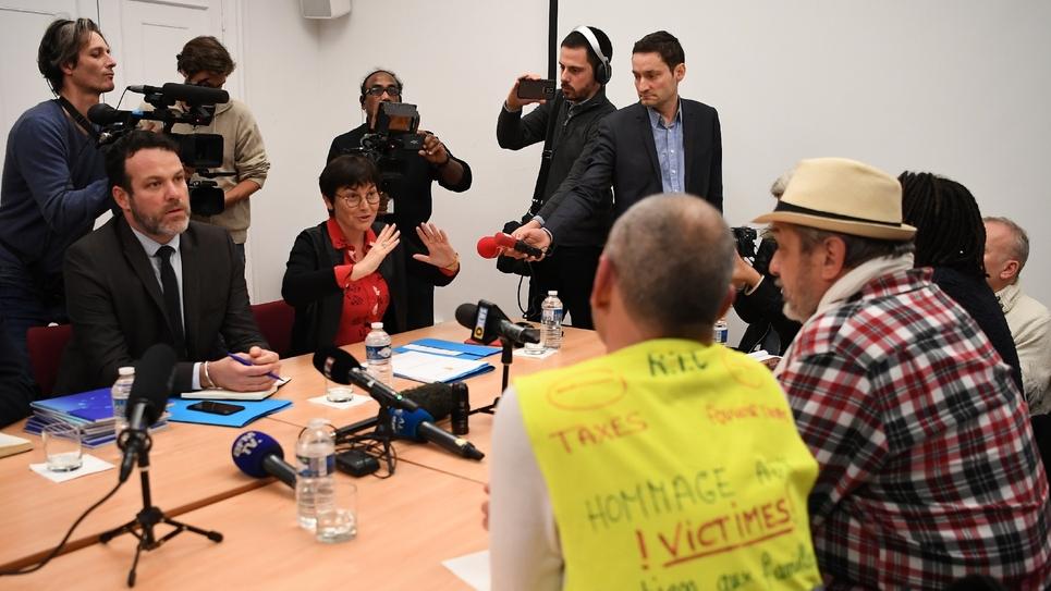 """La ministre des Outre-mer Annick Giradin lors d'une rencontre avec des """"gilets jaunes"""", le 29 janvier 2019 à Paris."""