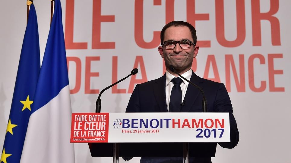 Benoît Hamon, vainqueur de la primaire élargie du PS, le 29 janvier 2017 à Paris