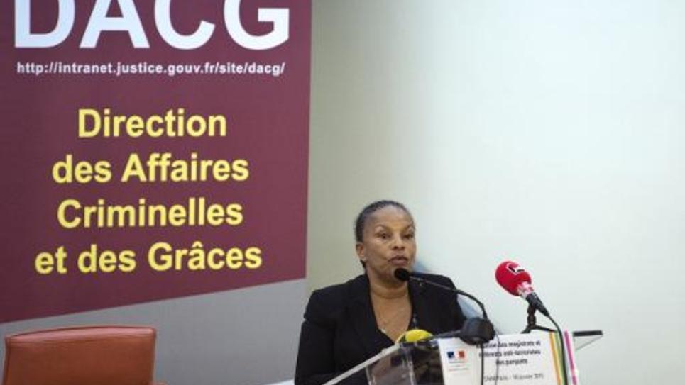 La ministre de la Justice Christiane Taubira fait un discours à l'Ecole nationale de la magistrature, le 16 janvier 2015 à Paris