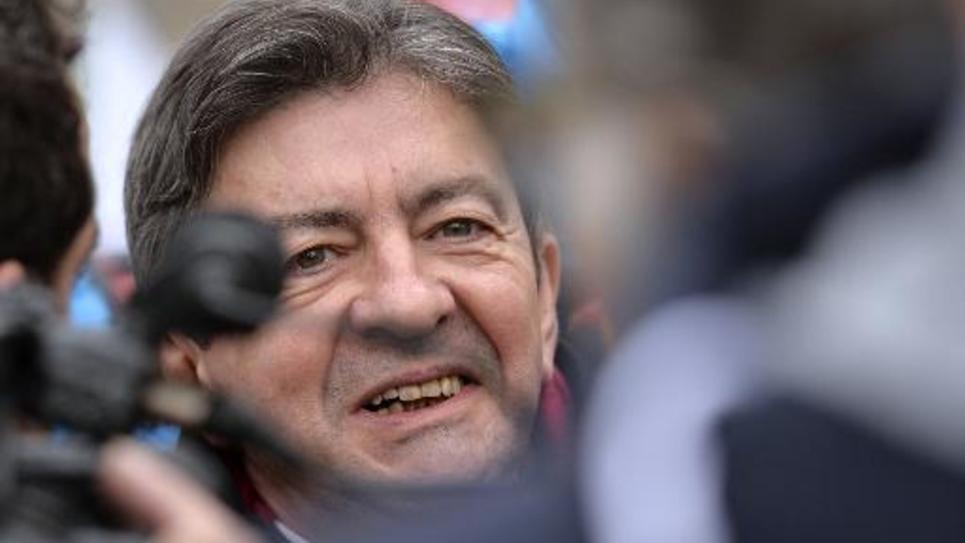 Jean-Luc Mélenchon, fondateur du Parti de Gauche, lors d'un rassemblement de soutien au gouvernement grec, le 15 février 2015 à Paris