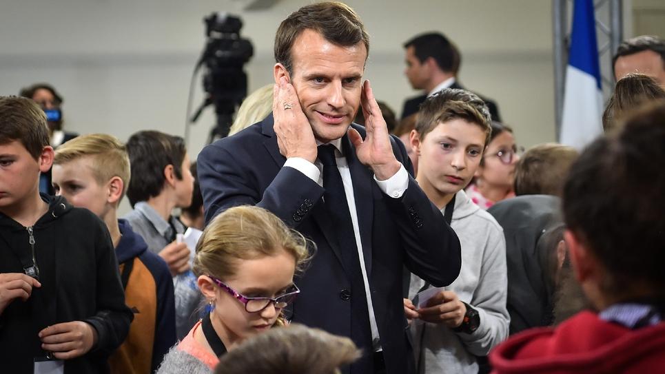 Emmanuel Macron, grand débat avec des enfants, à Beaupreau-en-Mauges, le 28 mars 2019