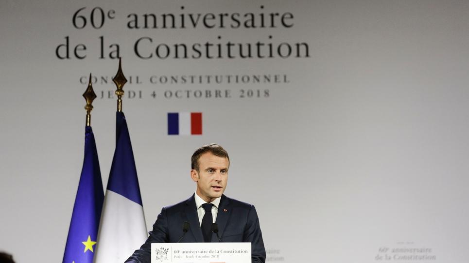 Emmanuel Macron donne un discours devant le Conseil constitutionnel à Paris, le 04 octobre 2018