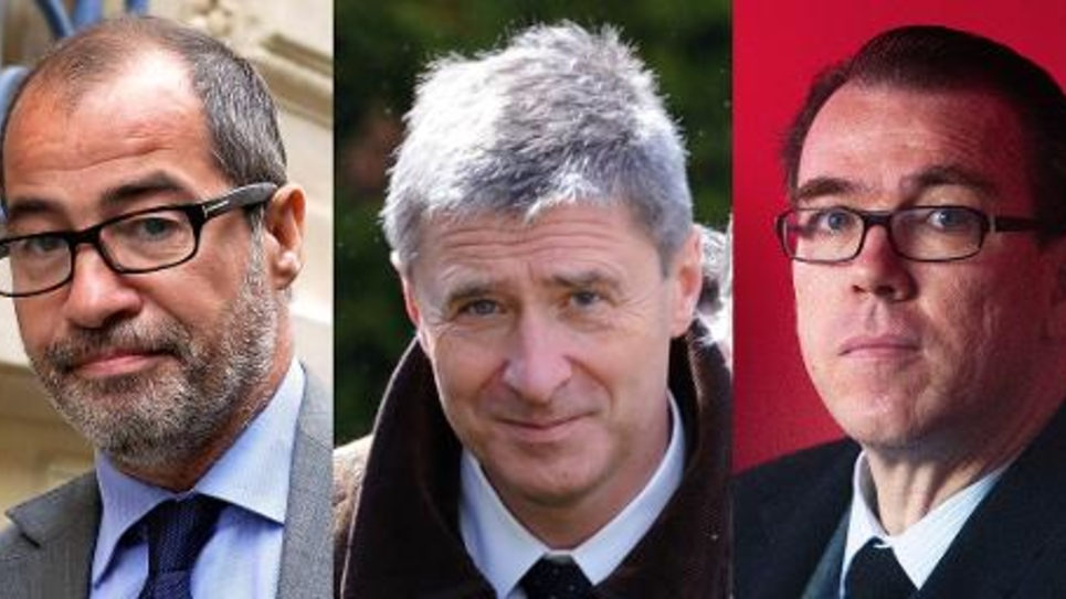 De g à d: l'avocat de l'UMP Philippe Blanchetier le 5 juillet 2013 à Paris, le député UMP Philippe Briand le 23 avril 2012 à Vouvray, en Indre-et-Loire, et Guillaume Lambert, alors directeur de campagne de Nicolas Sarkozy, à Paris le 17 avril 2012