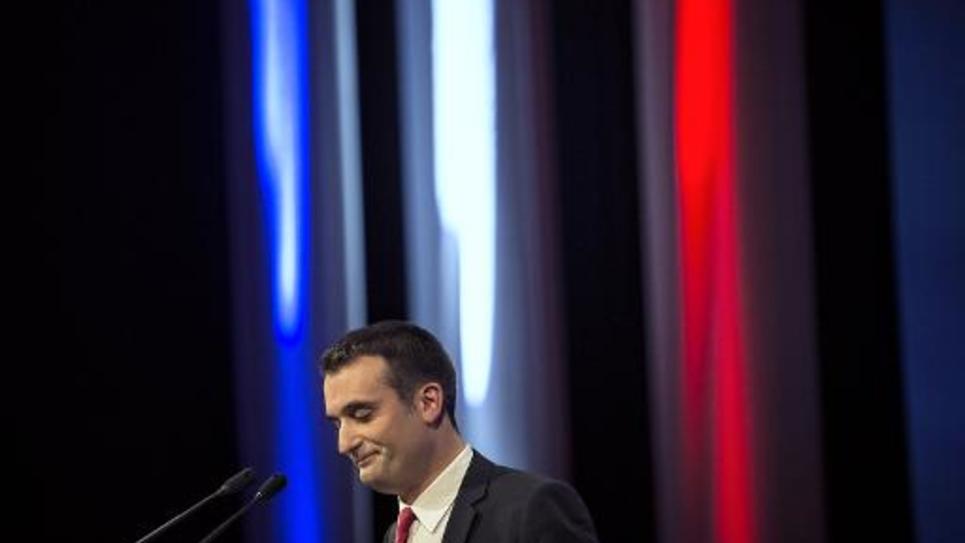Le numéro 2 du FN Florian Philippot prononce un discours à Lyon, au Congrès du parti, le 29 novembre 2014