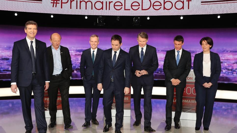 Les 7 candidats à la primaire organisée par le PS, le 15 janvier 2017 à Paris