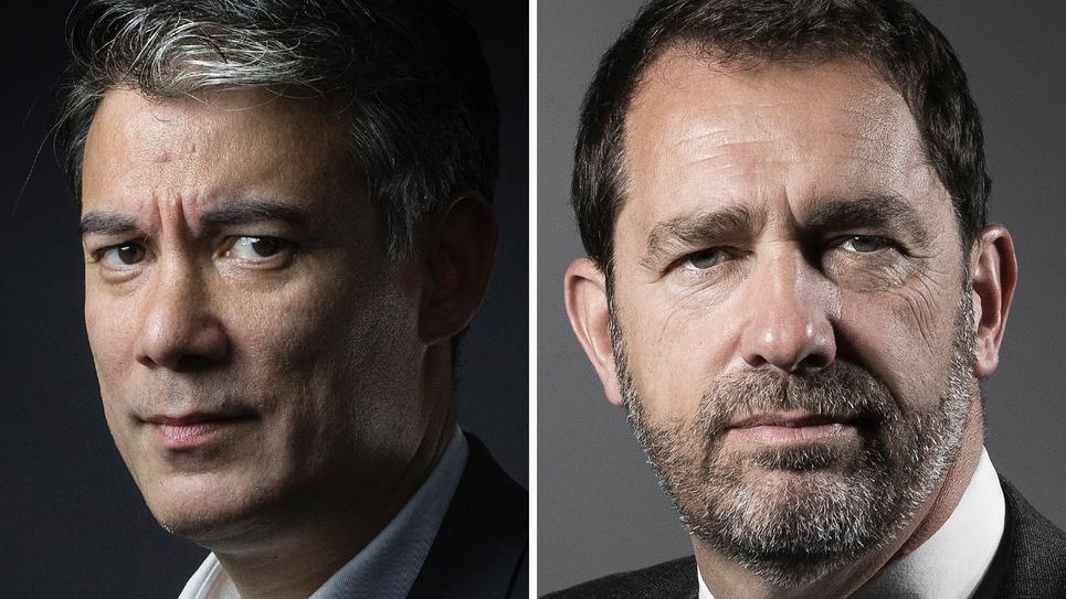 Le patron du PS Olivier Faure, photographié le 8 juin 2016 à Paris, et le ministre de l'Intérieur, posant le 2 mai 2017.
