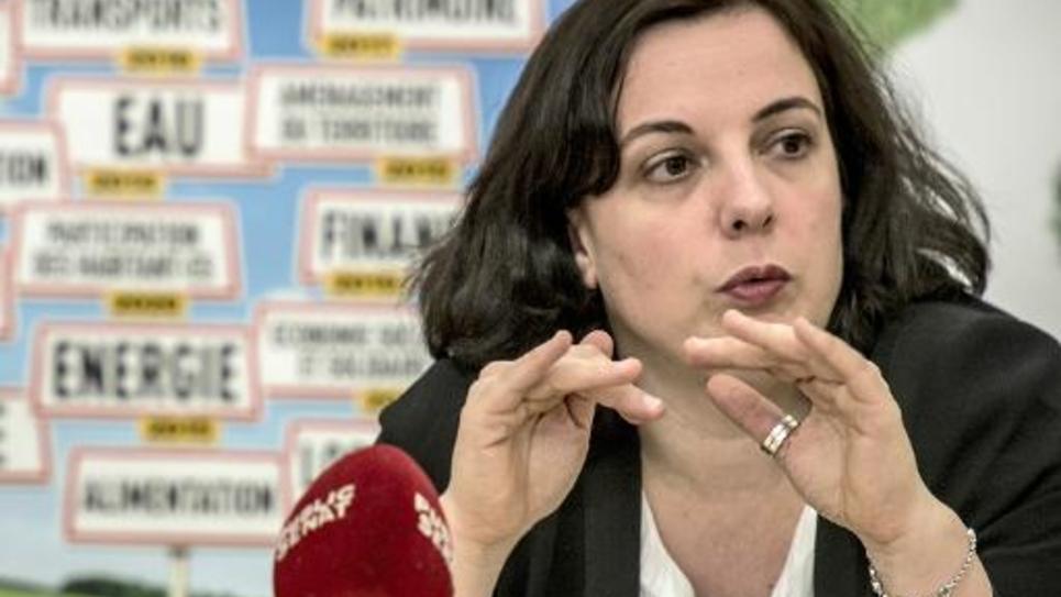 Emmanuelle Cosse, secrétaire nationale d'EELV, le 9 mars 2015 à Venissieux