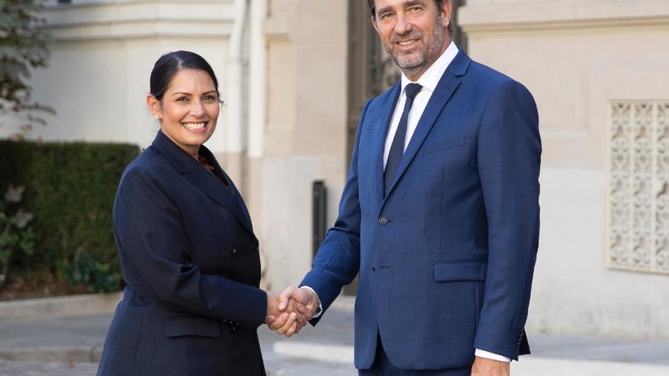 Le ministre de l'Intérieur Christophe Castaner et son homologue britannique Priti Patel à Paris le 29 août 2019