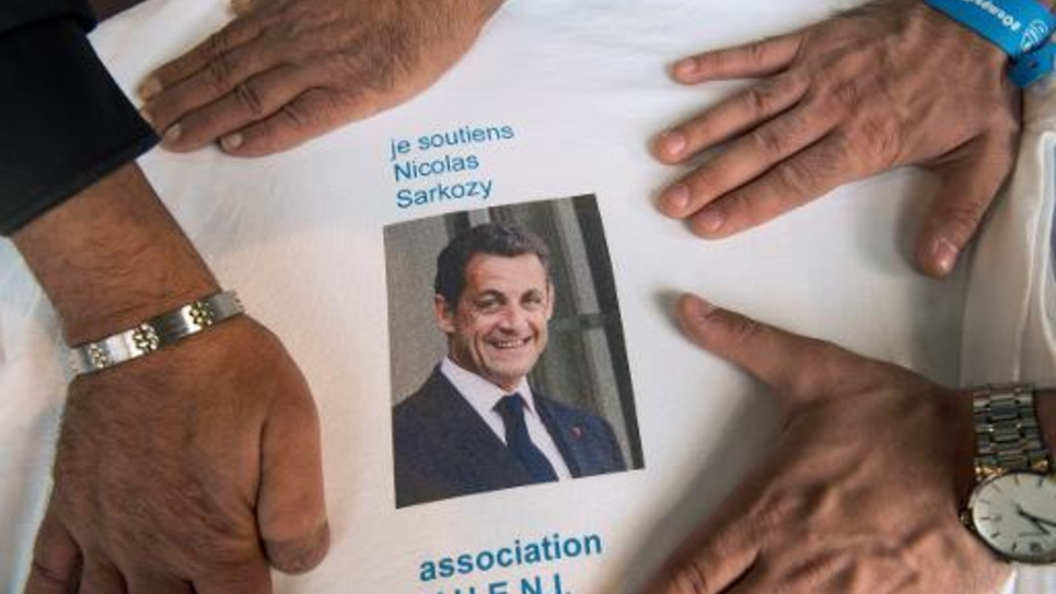 """Un T-shirt de soutien à Nicolas Sarkozy pris en photo au Touquet (Pas-de-Calais) lors du """"campus du renouveau"""" des jeunes de l'UMP, le 31 août 2014"""
