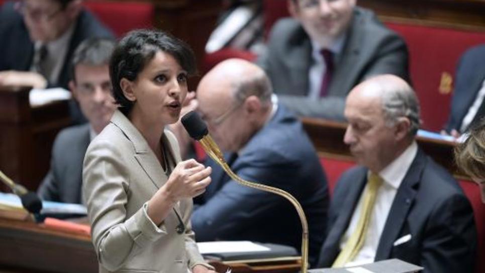 La ministre de l'Education Najat  Vallaud-Belkacem  lors des questions au gouvernement le 13 mai 2015 à l'Assemblée nationale à Paris