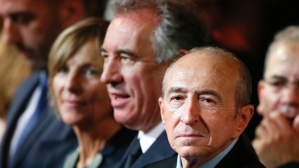 Marielle de Sarnez, François Bayrou et Gérard Collomb à Paris lors de l'investiture d'Emmanuel Macron, le 14 mai 2017