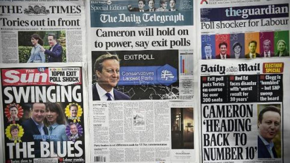 Les Unes de la presse britannique, le 8 mai 2015 au lendemain de la victoire des conservateurs