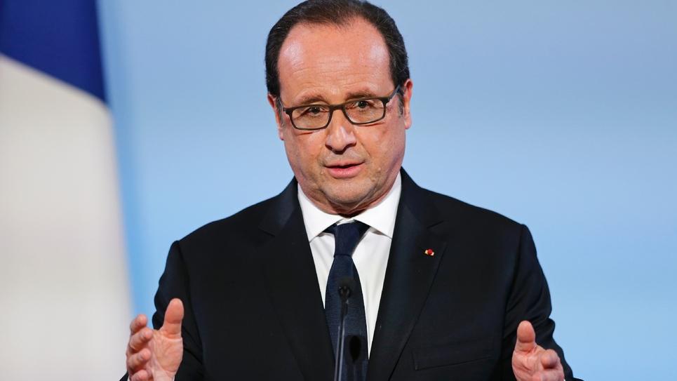 Le président François Hollande lors d'un discours à l'Elysée le 16 décembre 2016
