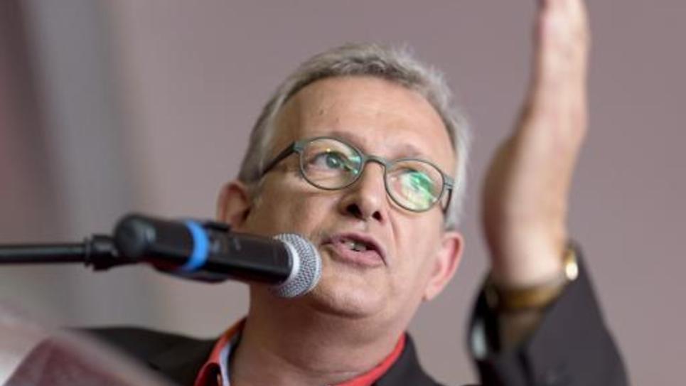 Le secrétaire national du PCF Pierre Laurent à la Courneuve, le 28 septembre 2014