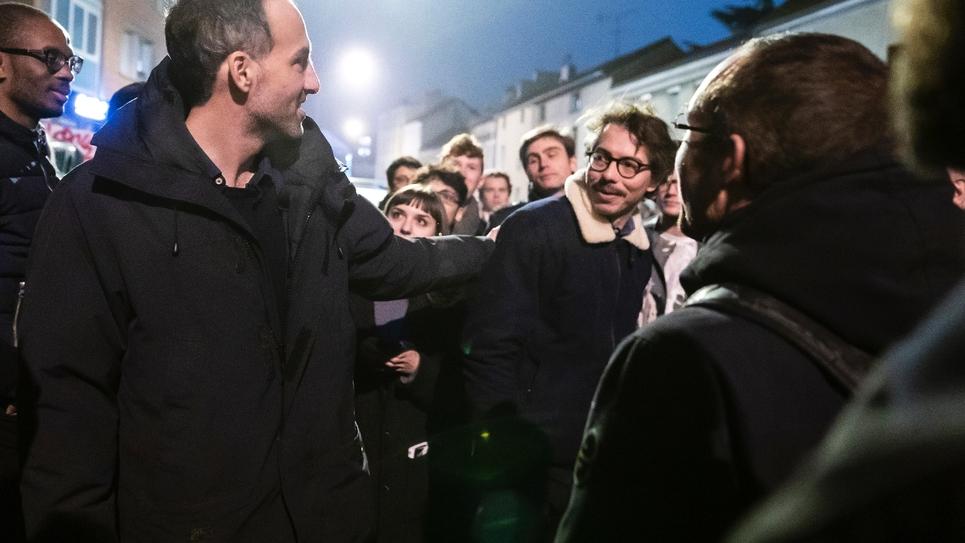 Les cofondateurs de Place publique, Raphaël Glucksmann (g) et Thomas Porcher (d) le 15 novembre 2018 à Paris