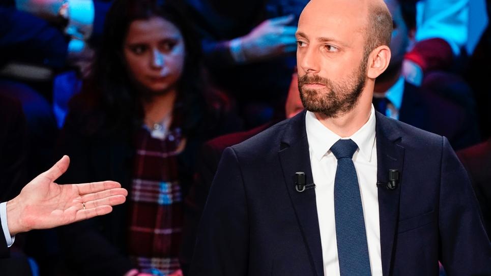 Le patron de La République en marche, Stanislas Guerini, le 10 avril 2019 sur un plateau télévisé à Boulogne-Billancourt
