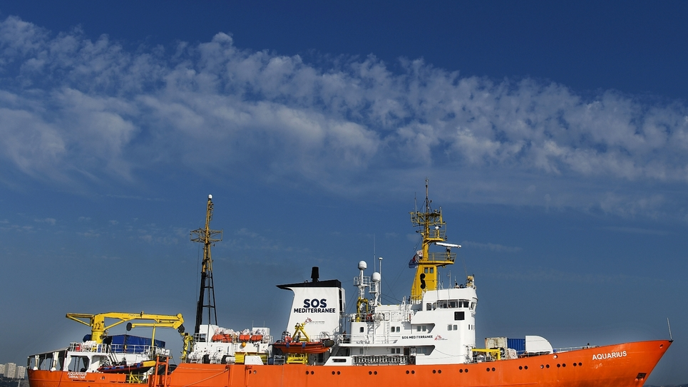 L'Aquarius armé par SOS Mediterranée et MSF quitte le port de Marseille le 1er août 2018