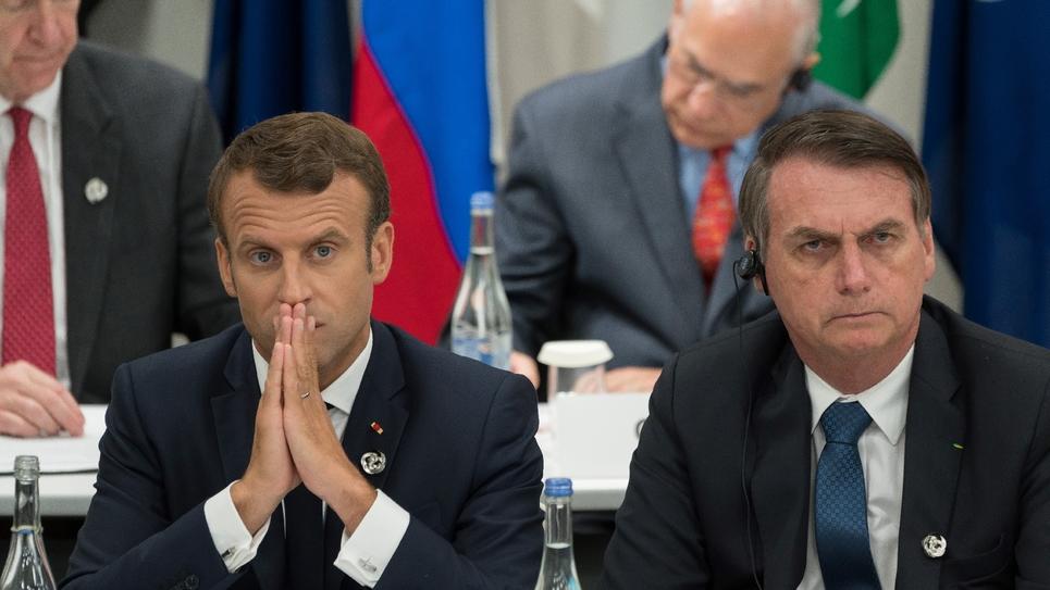 Emmanuel Macron et le président brésilien Jair Bolsonaro au sommet du G20 à Osaka au Japon, le 28 2019