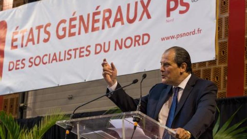 Le premier secrétaire du Parti Socialiste Jean-Christophe Cambadélis lors d'une assemblée consacrée aux états généraux du parti à Lomme le 13 septembre 2014