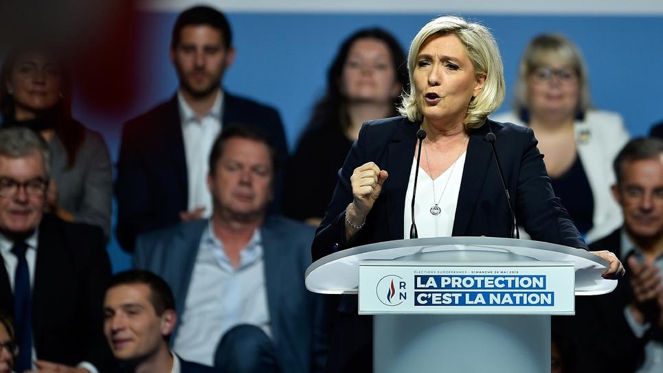 Marine Le Pen, présidente du Rassemblement National, lors d'un meeting à Metz, le 1er mai 2019