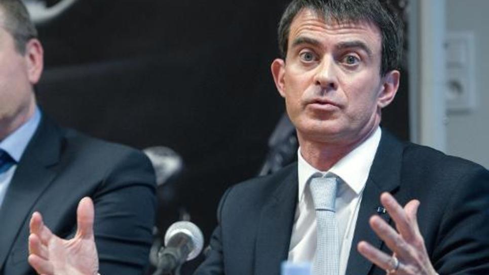 Le Premier ministre Manuel Valls le 5 février 2015 à Montbelliard lors d'une visite de soutien au candidat PS
