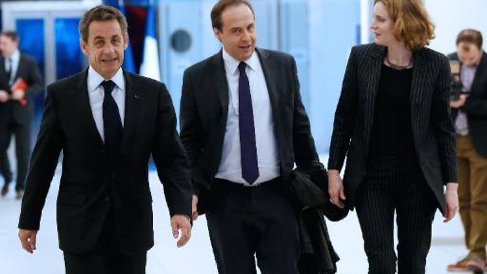 Les présidents de l'UMP et de l'UDI, Nicolas Sarkozy et Jean-Christophe Lagarde, le 18 décembre 2014 au siège de l'UMP à Paris