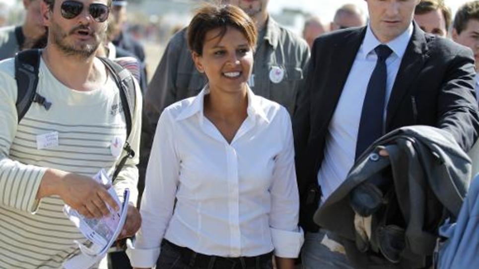Najat Vallaud-Belkacem, nommée le 26 août 2014 ministre de l'Education, à Ouistreham le 20 août 2014