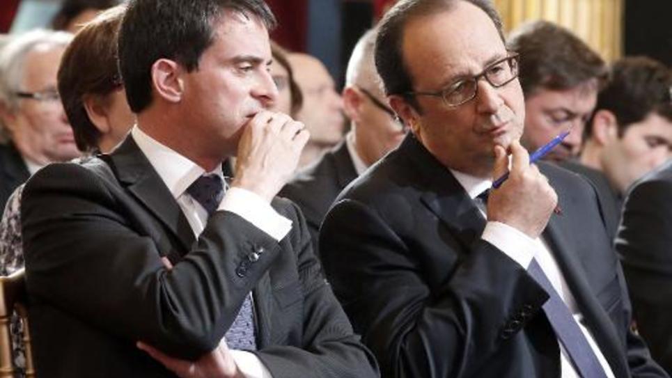 Francois Hollande et Manuel Valls lors de la Conférence environnementale le 27 novembre 2014 à l'Elysée
