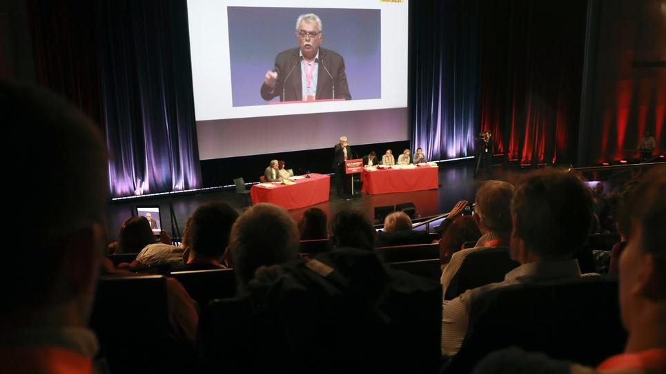 André Chassaigne lors d'un meeting du PCF à Paris le 5 novembre 2016