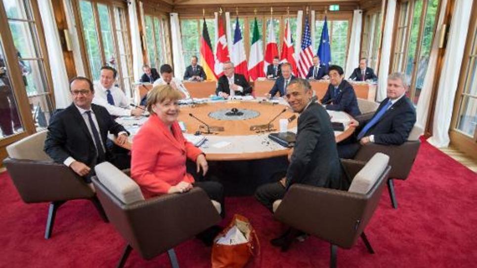 Les dirigeants du G7 au château d'Elmau le 8 juin 2015