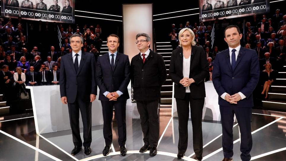 Les cinq favoris à la présidentielle lors d'un débat à Aubervilliers, le 20 mars 2017