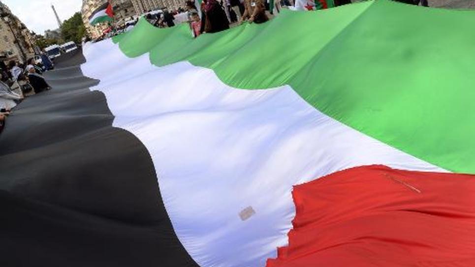 Des manifestants brandissent un immense drapeau palestinien à Paris le 16 août 2014