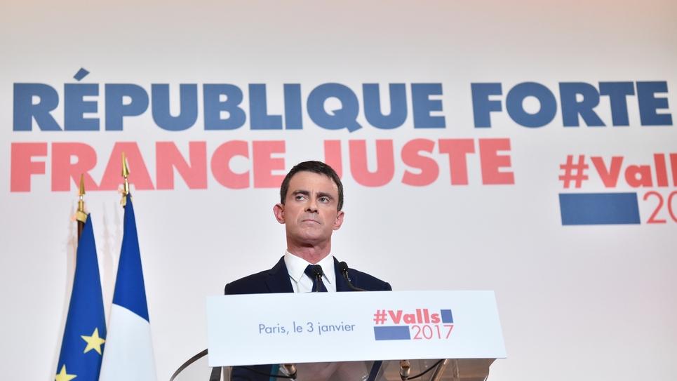 """Manuel Valls lors de la présentation de son """"projet"""" présidentiel le 3 janvier 2017 à la maison de la Chimie à Paris"""