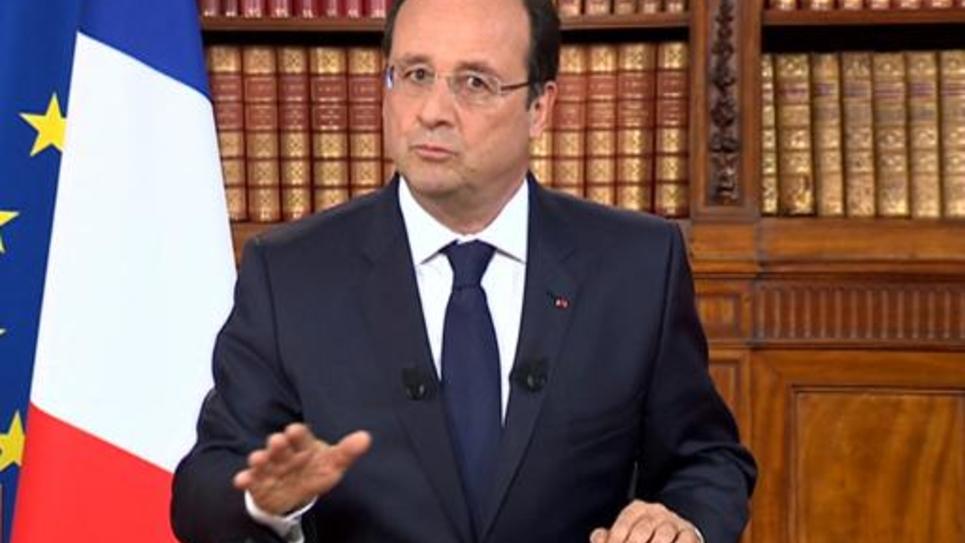 Capture d'écran - Le président français Francois Hollande s'adressant à la nation sur les chaînes de télévision depuis l'Elysée, le 26 mai 2014, au lendemain des élections